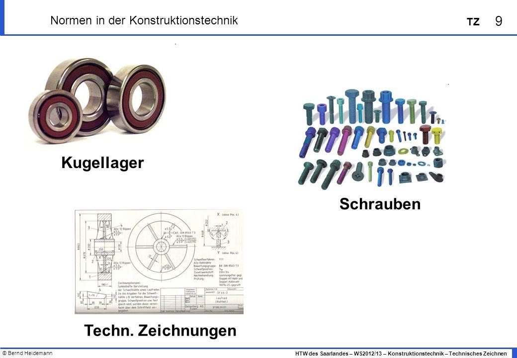 © Bernd Heidemann 9 HTW des Saarlandes – WS2012/13 – Konstruktionstechnik – Technisches Zeichnen TZ Normen in der Konstruktionstechnik Kugellager Schr