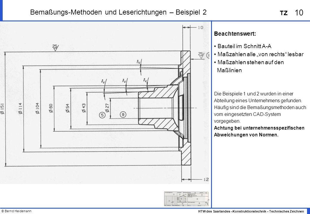 © Bernd Heidemann 10 HTW des Saarlandes –Konstruktionstechnik – Technisches Zeichnen TZ Bemaßungs-Methoden und Leserichtungen – Beispiel 2 Beachtenswe
