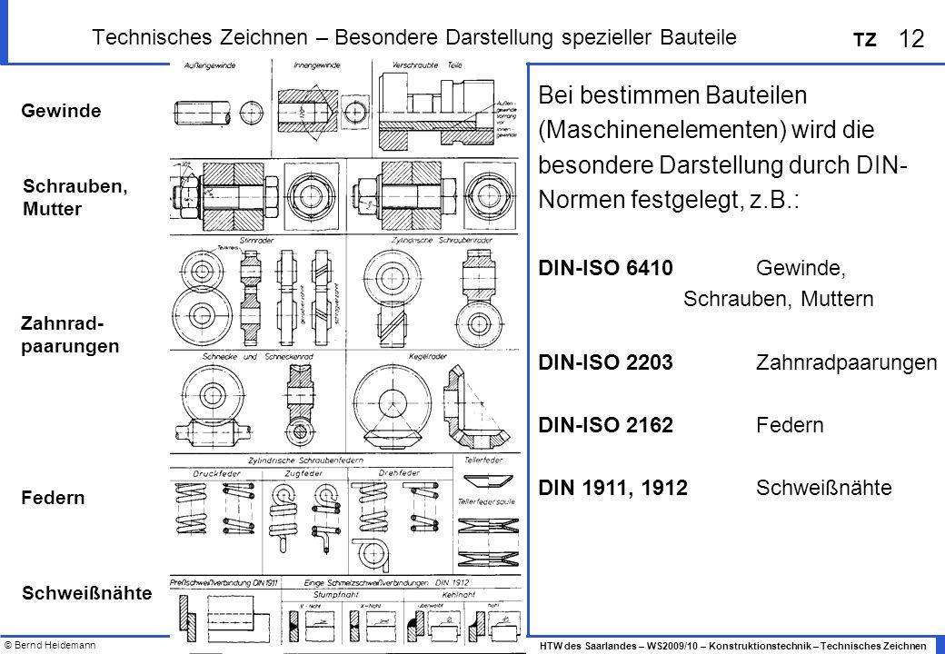 © Bernd Heidemann 12 HTW des Saarlandes – WS2009/10 – Konstruktionstechnik – Technisches Zeichnen TZ Technisches Zeichnen – Besondere Darstellung spez
