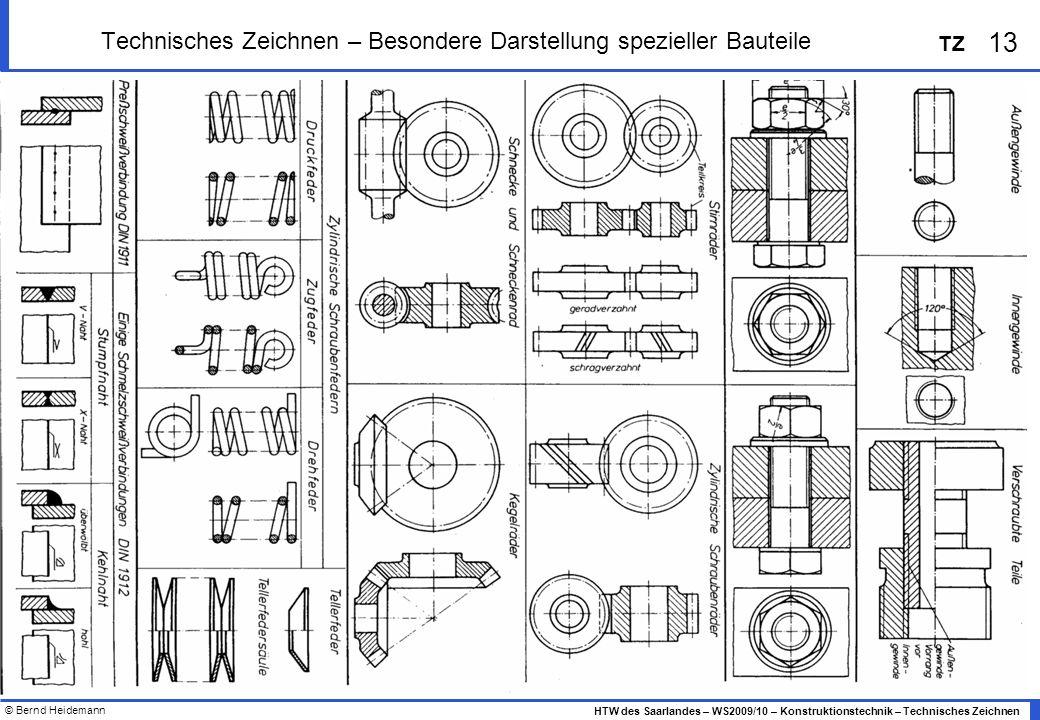 © Bernd Heidemann 13 HTW des Saarlandes – WS2009/10 – Konstruktionstechnik – Technisches Zeichnen TZ Technisches Zeichnen – Besondere Darstellung spez