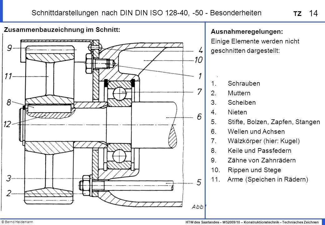 © Bernd Heidemann 14 HTW des Saarlandes – WS2009/10 – Konstruktionstechnik – Technisches Zeichnen TZ Schnittdarstellungen nach DIN DIN ISO 128-40, -50