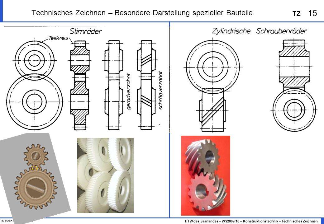 © Bernd Heidemann 15 HTW des Saarlandes – WS2009/10 – Konstruktionstechnik – Technisches Zeichnen TZ Technisches Zeichnen – Besondere Darstellung spez