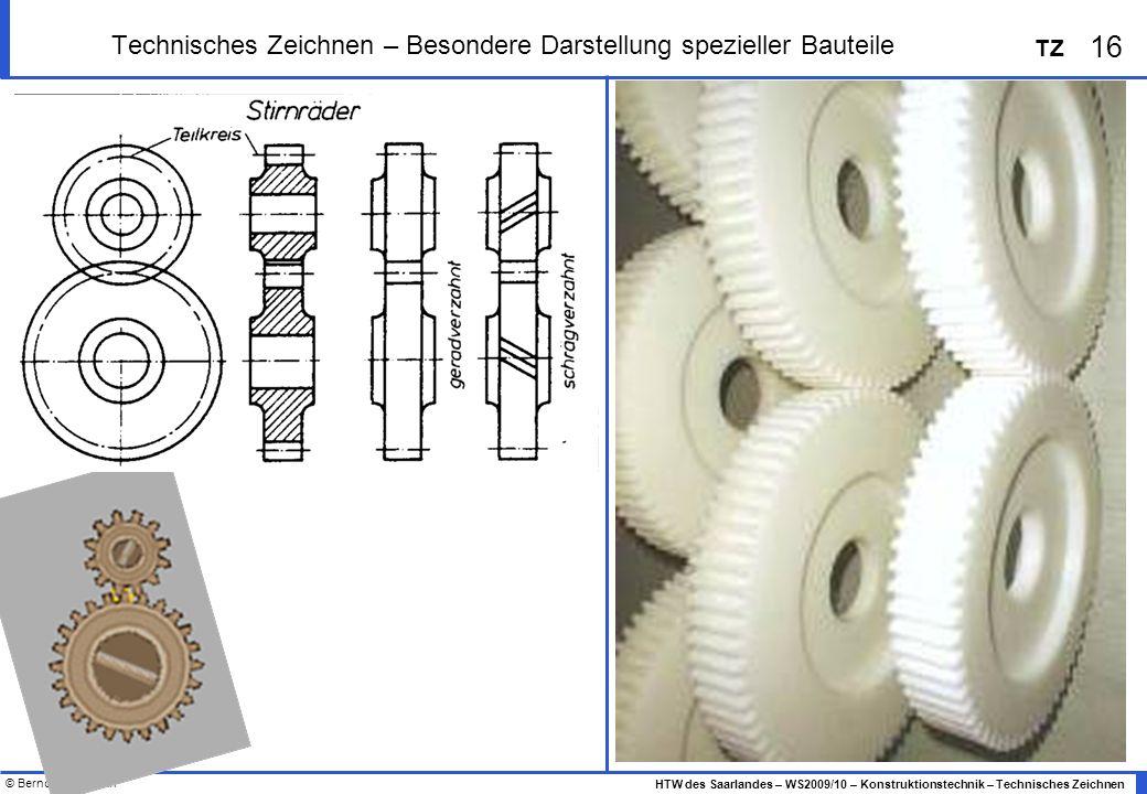 © Bernd Heidemann 16 HTW des Saarlandes – WS2009/10 – Konstruktionstechnik – Technisches Zeichnen TZ Technisches Zeichnen – Besondere Darstellung spez