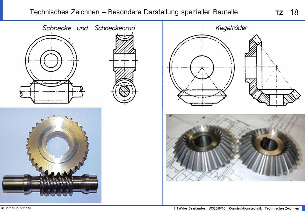 © Bernd Heidemann 18 HTW des Saarlandes – WS2009/10 – Konstruktionstechnik – Technisches Zeichnen TZ Technisches Zeichnen – Besondere Darstellung spez