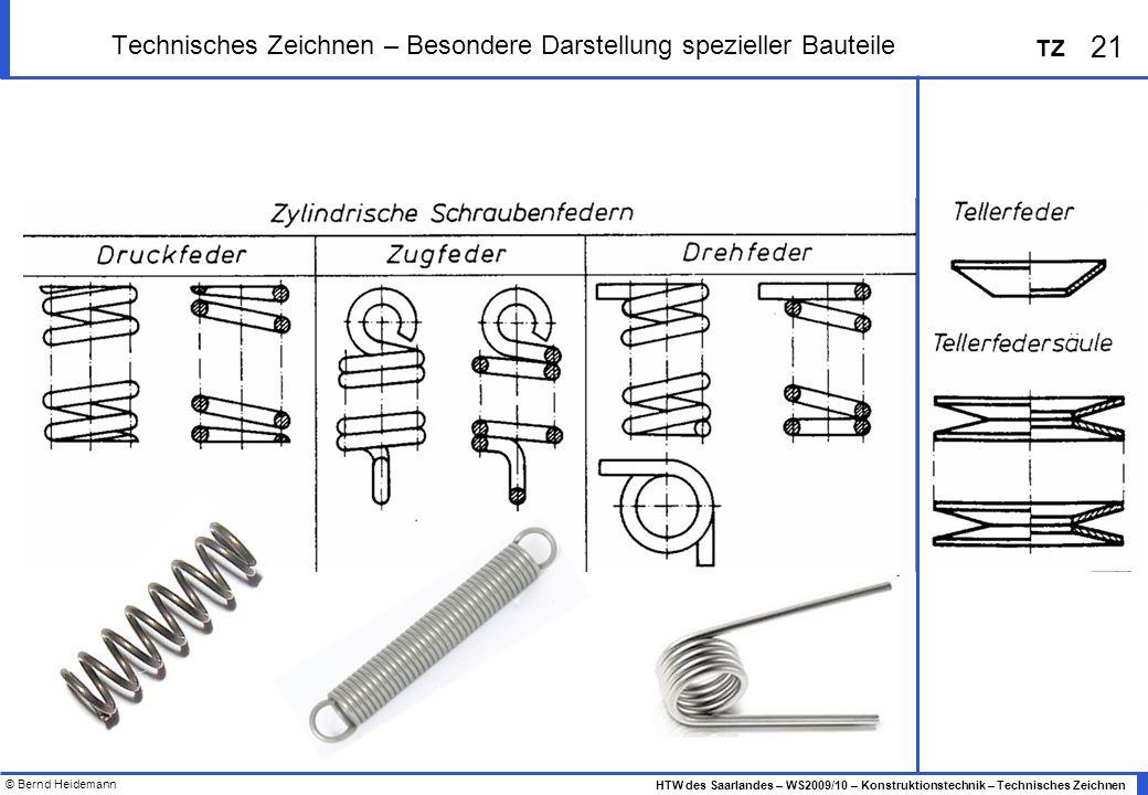 © Bernd Heidemann 21 HTW des Saarlandes – WS2009/10 – Konstruktionstechnik – Technisches Zeichnen TZ Technisches Zeichnen – Besondere Darstellung spez