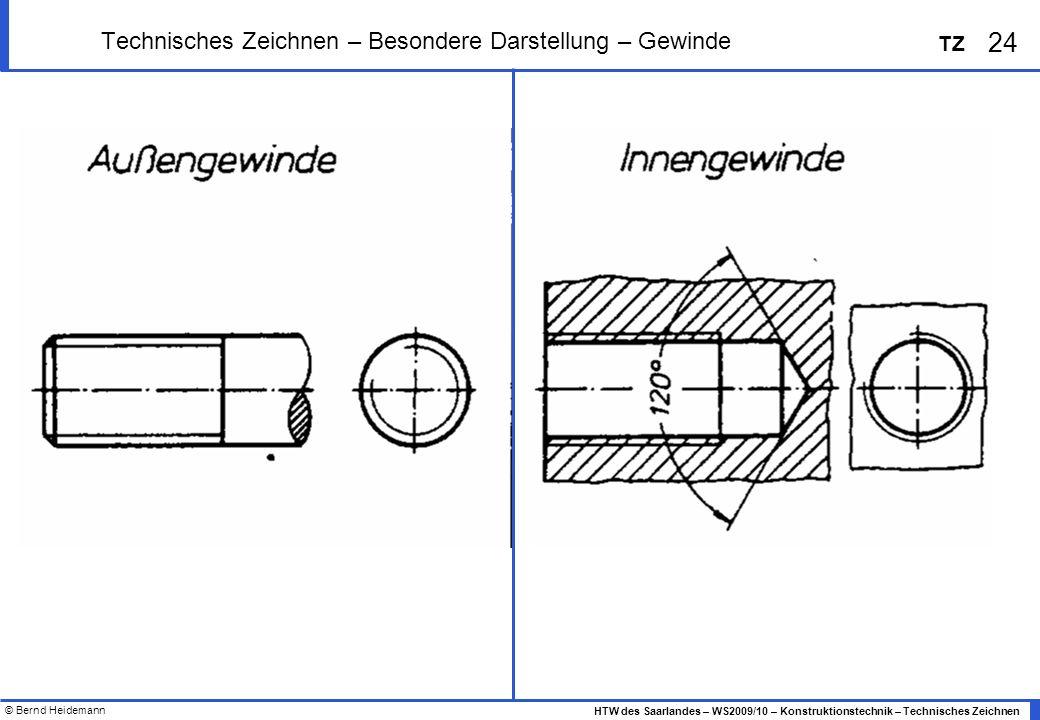 © Bernd Heidemann 24 HTW des Saarlandes – WS2009/10 – Konstruktionstechnik – Technisches Zeichnen TZ Technisches Zeichnen – Besondere Darstellung – Ge