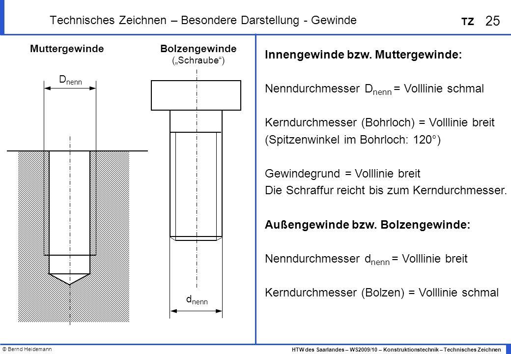 © Bernd Heidemann 25 HTW des Saarlandes – WS2009/10 – Konstruktionstechnik – Technisches Zeichnen TZ Technisches Zeichnen – Besondere Darstellung - Ge