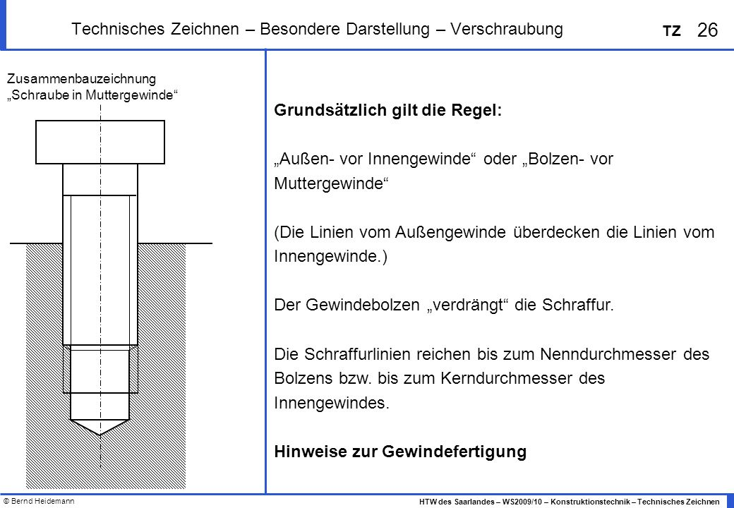 © Bernd Heidemann 26 HTW des Saarlandes – WS2009/10 – Konstruktionstechnik – Technisches Zeichnen TZ Technisches Zeichnen – Besondere Darstellung – Ve