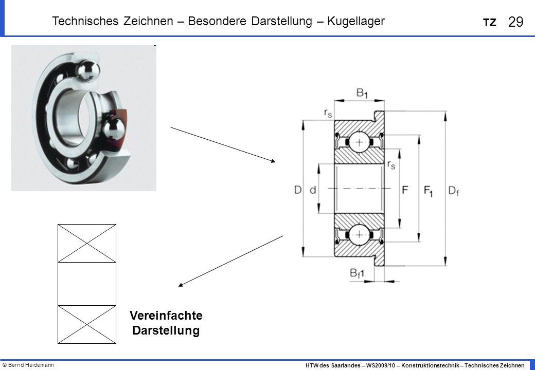 © Bernd Heidemann 29 HTW des Saarlandes – WS2009/10 – Konstruktionstechnik – Technisches Zeichnen TZ Technisches Zeichnen – Besondere Darstellung – Ku