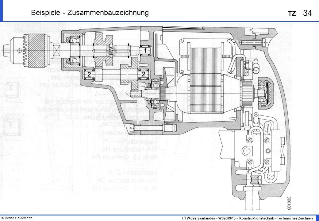 © Bernd Heidemann 34 HTW des Saarlandes – WS2009/10 – Konstruktionstechnik – Technisches Zeichnen TZ Beispiele - Zusammenbauzeichnung