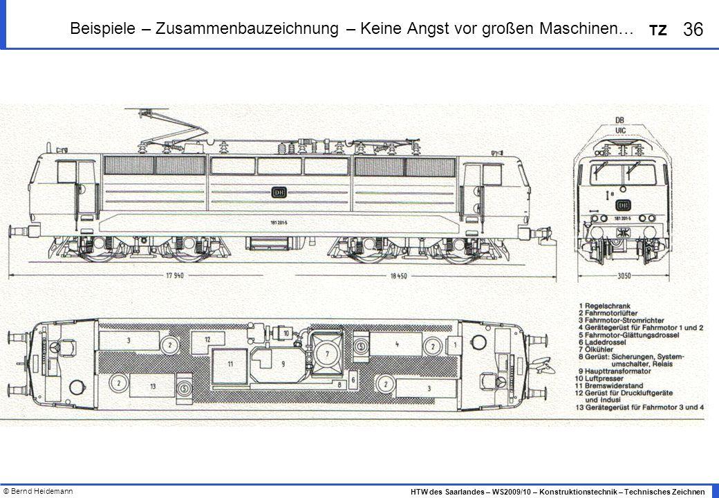 © Bernd Heidemann 36 HTW des Saarlandes – WS2009/10 – Konstruktionstechnik – Technisches Zeichnen TZ Beispiele – Zusammenbauzeichnung – Keine Angst vo