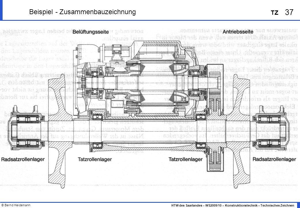 © Bernd Heidemann 37 HTW des Saarlandes – WS2009/10 – Konstruktionstechnik – Technisches Zeichnen TZ Beispiel - Zusammenbauzeichnung