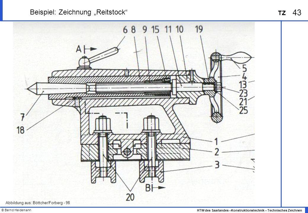 © Bernd Heidemann 43 HTW des Saarlandes –Konstruktionstechnik – Technisches Zeichnen TZ Beispiel: Zeichnung Reitstock Abbildung aus: Böttcher/Forberg
