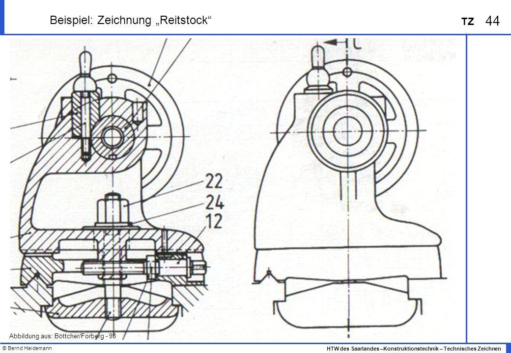 © Bernd Heidemann 44 HTW des Saarlandes –Konstruktionstechnik – Technisches Zeichnen TZ Beispiel: Zeichnung Reitstock Abbildung aus: Böttcher/Forberg