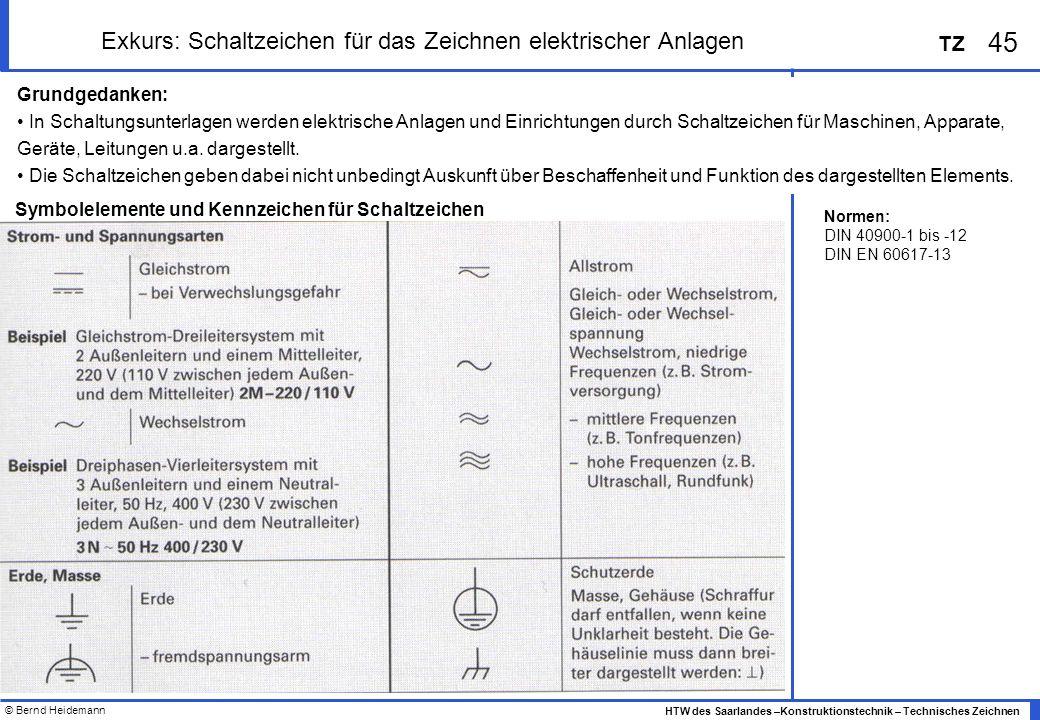 © Bernd Heidemann 45 HTW des Saarlandes –Konstruktionstechnik – Technisches Zeichnen TZ Exkurs: Schaltzeichen für das Zeichnen elektrischer Anlagen Gr