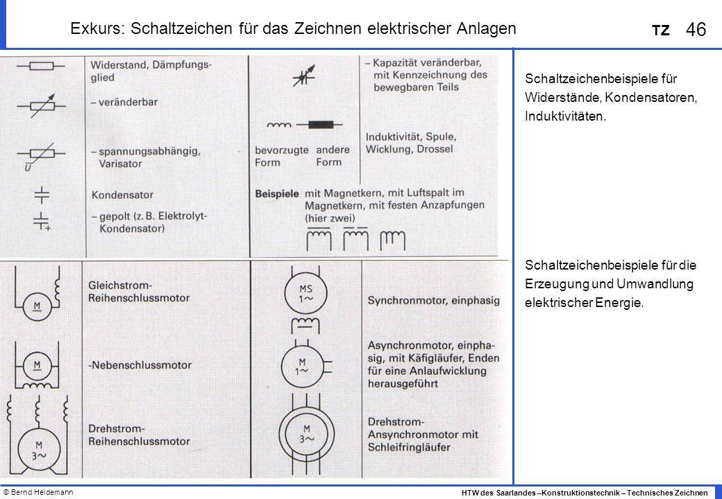 © Bernd Heidemann 46 HTW des Saarlandes –Konstruktionstechnik – Technisches Zeichnen TZ Exkurs: Schaltzeichen für das Zeichnen elektrischer Anlagen Sc