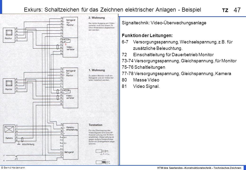 © Bernd Heidemann 47 HTW des Saarlandes –Konstruktionstechnik – Technisches Zeichnen TZ Exkurs: Schaltzeichen für das Zeichnen elektrischer Anlagen -