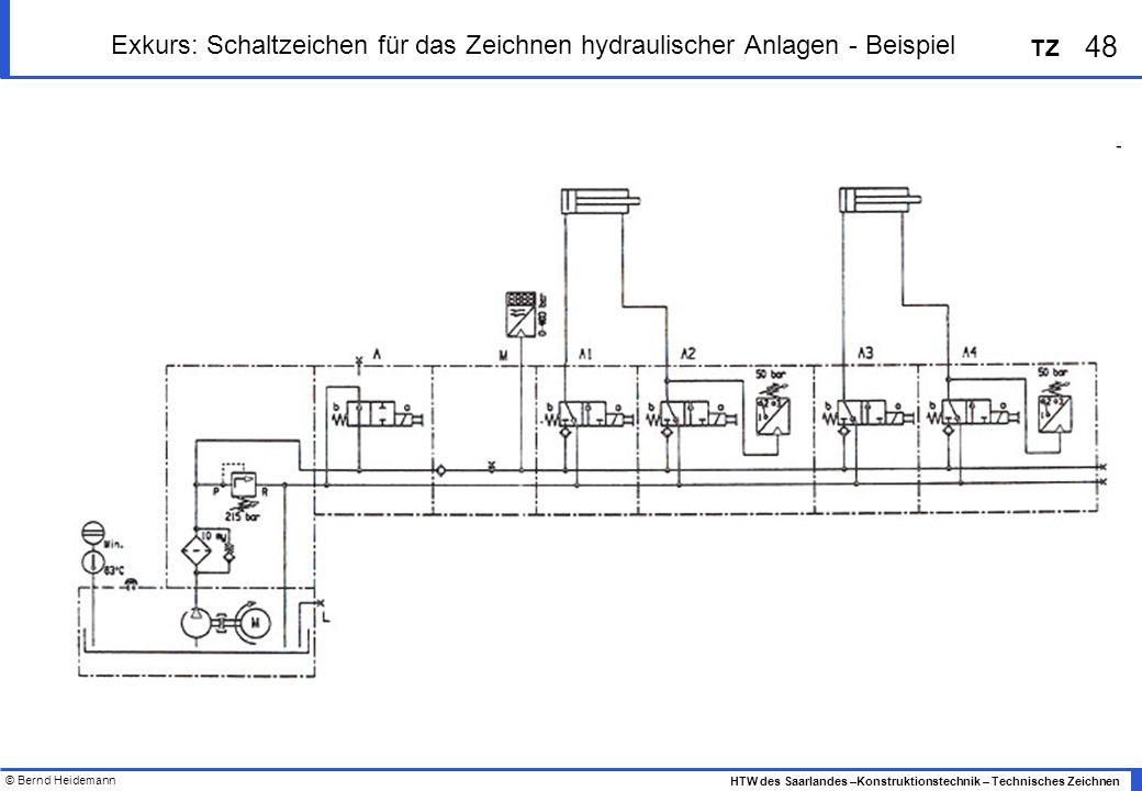 © Bernd Heidemann 48 HTW des Saarlandes –Konstruktionstechnik – Technisches Zeichnen TZ Exkurs: Schaltzeichen für das Zeichnen hydraulischer Anlagen -