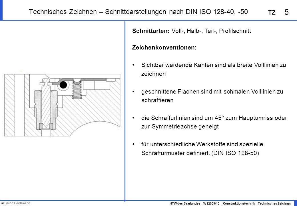 © Bernd Heidemann 5 HTW des Saarlandes – WS2009/10 – Konstruktionstechnik – Technisches Zeichnen TZ Technisches Zeichnen – Schnittdarstellungen nach D