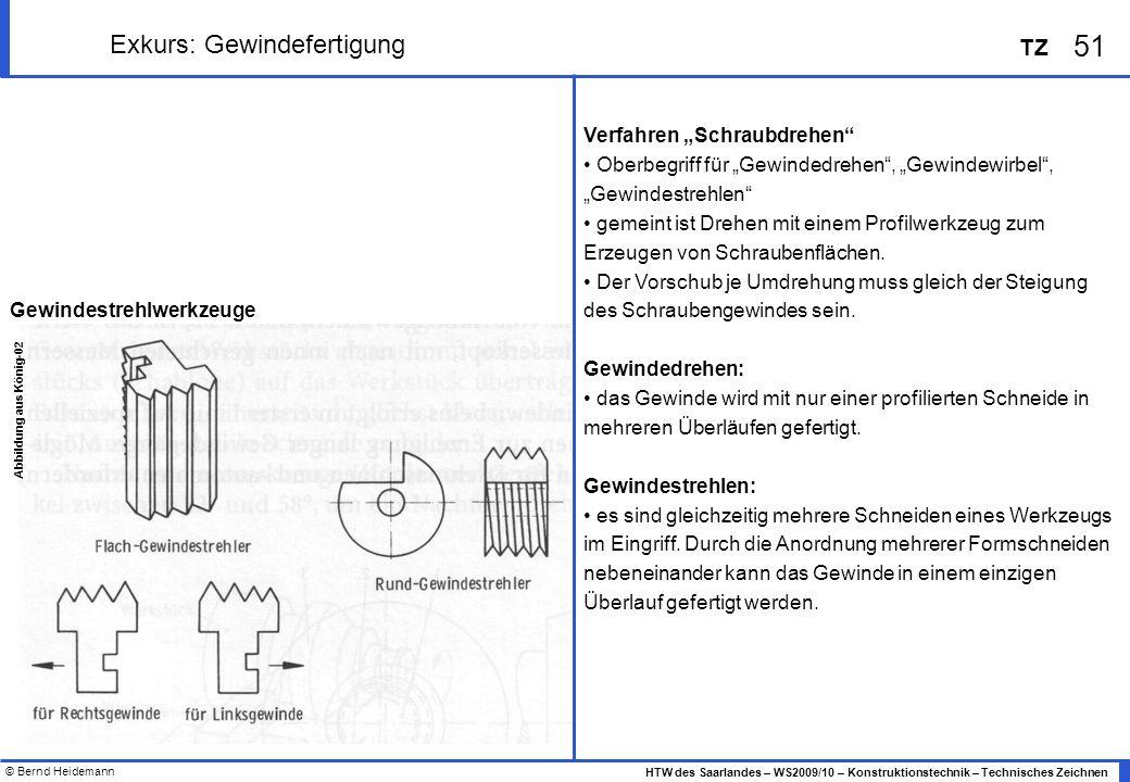 © Bernd Heidemann 51 HTW des Saarlandes – WS2009/10 – Konstruktionstechnik – Technisches Zeichnen TZ Exkurs: Gewindefertigung Verfahren Schraubdrehen
