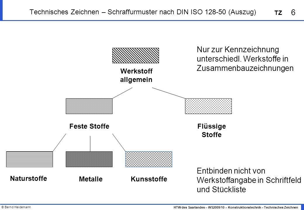 © Bernd Heidemann 6 HTW des Saarlandes – WS2009/10 – Konstruktionstechnik – Technisches Zeichnen TZ Technisches Zeichnen – Schraffurmuster nach DIN IS