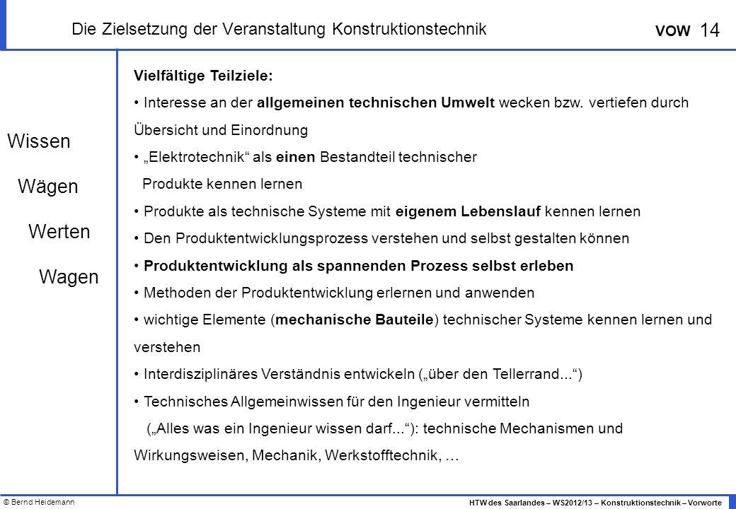 © Bernd Heidemann 14 HTW des Saarlandes – WS2012/13 – Konstruktionstechnik – Vorworte VOW Die Zielsetzung der Veranstaltung Konstruktionstechnik Vielfältige Teilziele: Interesse an der allgemeinen technischen Umwelt wecken bzw.