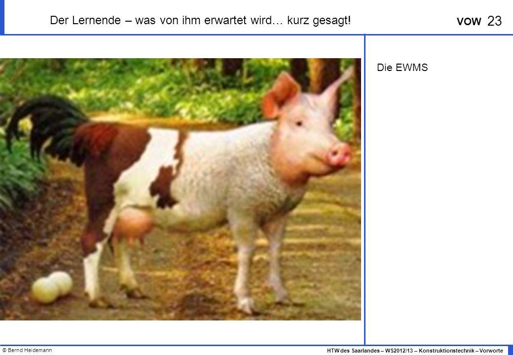 © Bernd Heidemann 23 HTW des Saarlandes – WS2012/13 – Konstruktionstechnik – Vorworte VOW Der Lernende – was von ihm erwartet wird… kurz gesagt.