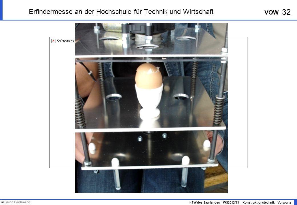 © Bernd Heidemann 32 HTW des Saarlandes – WS2012/13 – Konstruktionstechnik – Vorworte VOW Erfindermesse an der Hochschule für Technik und Wirtschaft