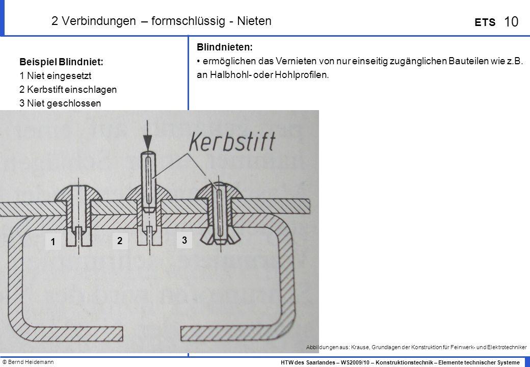 © Bernd Heidemann 10 HTW des Saarlandes – WS2009/10 – Konstruktionstechnik – Elemente technischer Systeme ETS 2 Verbindungen – formschlüssig - Nieten