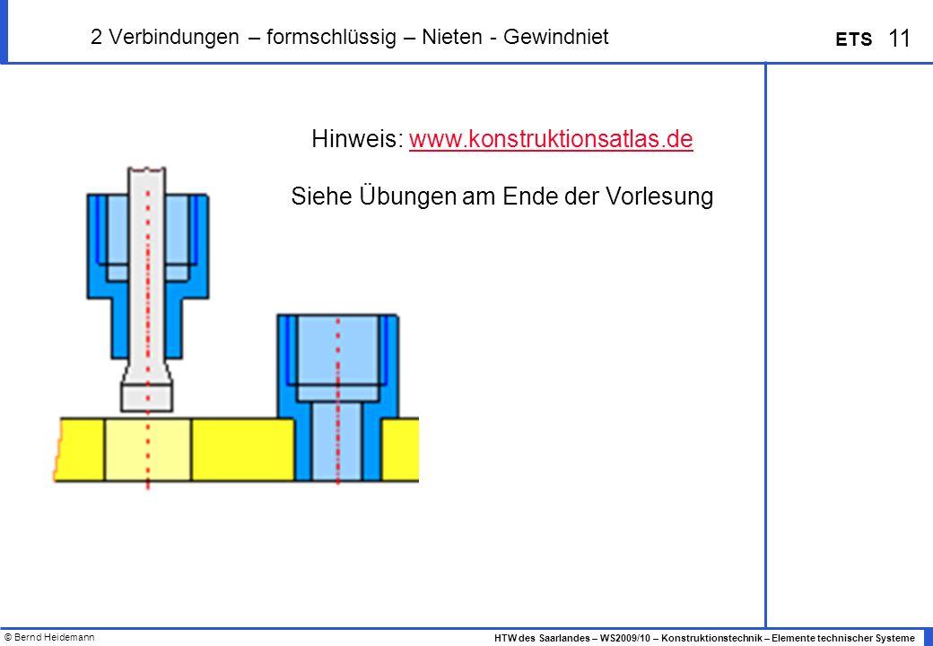 © Bernd Heidemann 11 HTW des Saarlandes – WS2009/10 – Konstruktionstechnik – Elemente technischer Systeme ETS 2 Verbindungen – formschlüssig – Nieten