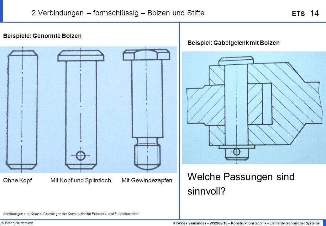 © Bernd Heidemann 14 HTW des Saarlandes – WS2009/10 – Konstruktionstechnik – Elemente technischer Systeme ETS 2 Verbindungen – formschlüssig – Bolzen