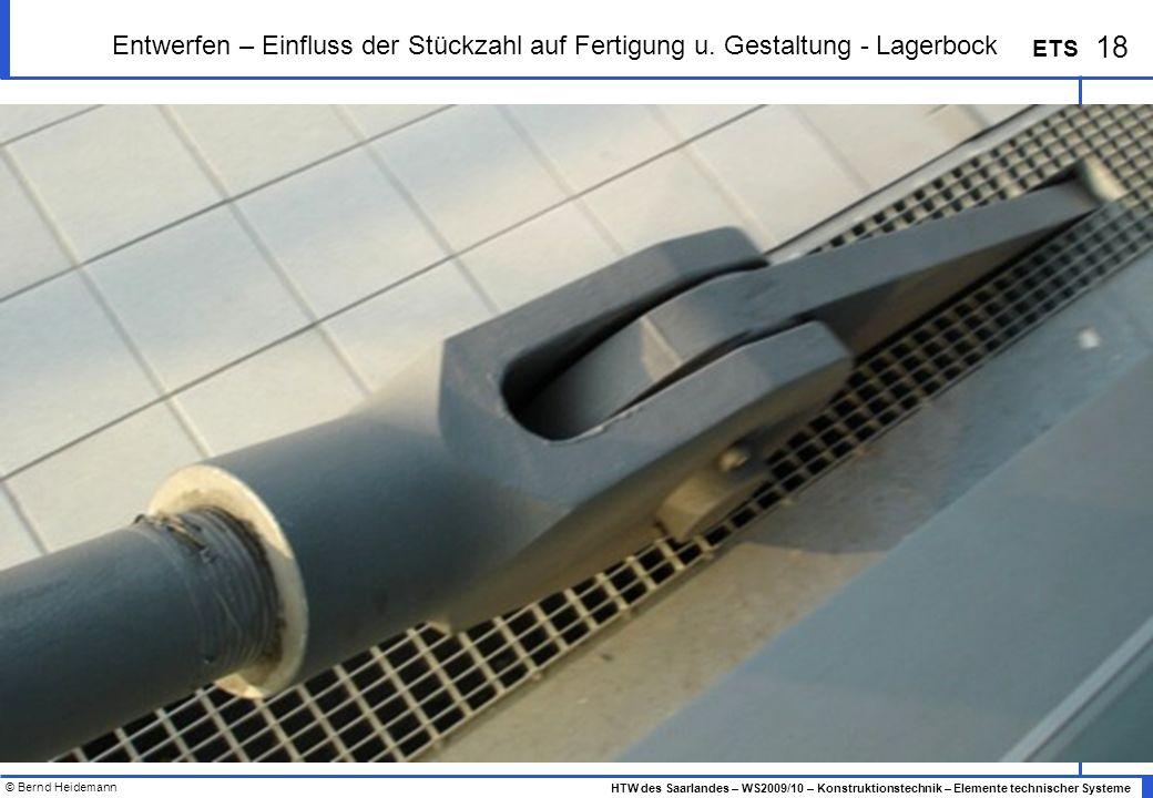 © Bernd Heidemann 18 HTW des Saarlandes – WS2009/10 – Konstruktionstechnik – Elemente technischer Systeme ETS Entwerfen – Einfluss der Stückzahl auf F