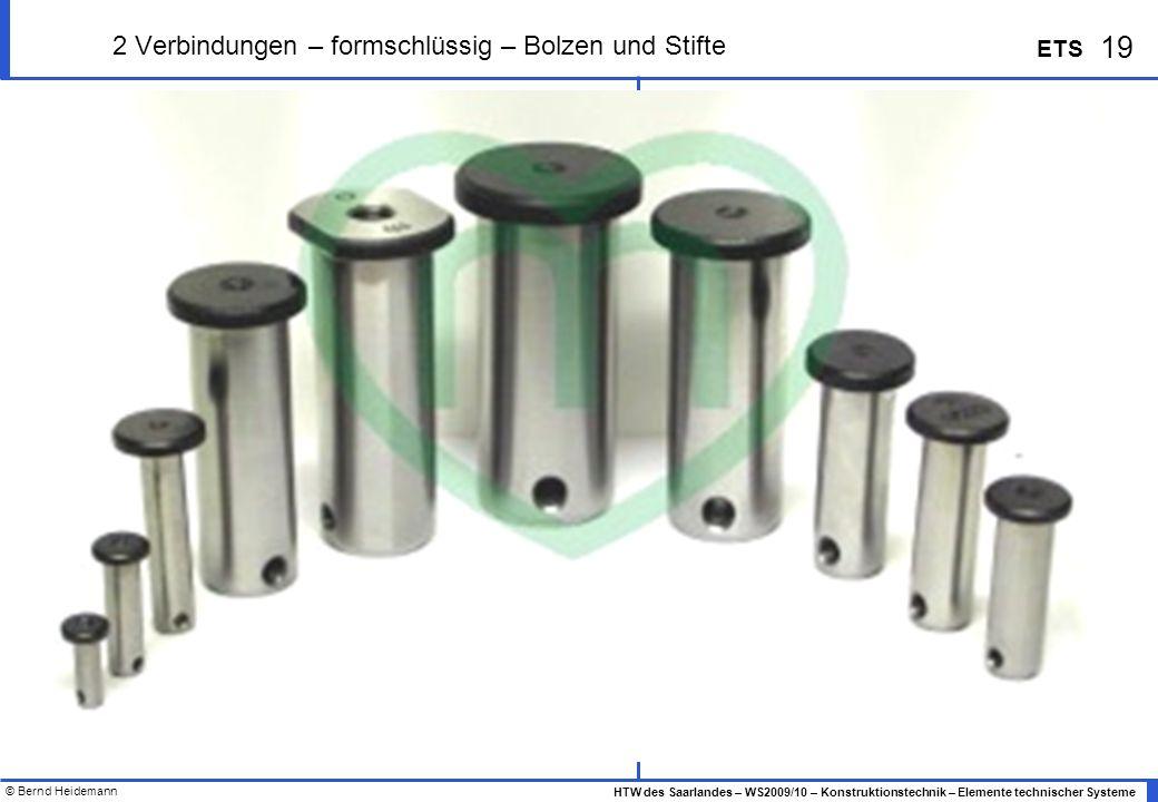 © Bernd Heidemann 19 HTW des Saarlandes – WS2009/10 – Konstruktionstechnik – Elemente technischer Systeme ETS 2 Verbindungen – formschlüssig – Bolzen