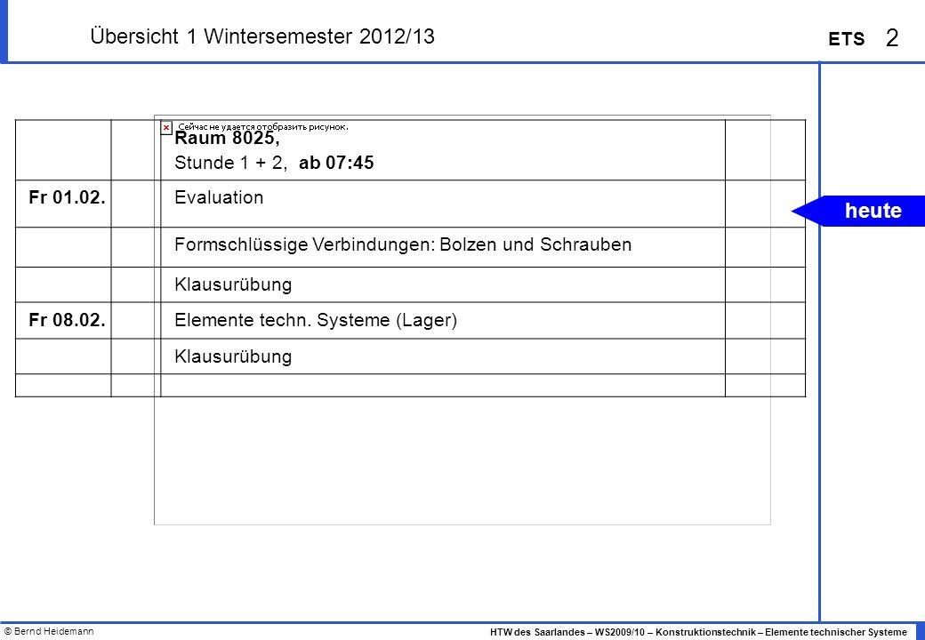© Bernd Heidemann 2 HTW des Saarlandes – WS2009/10 – Konstruktionstechnik – Elemente technischer Systeme ETS Übersicht 1 Wintersemester 2012/13 Raum 8
