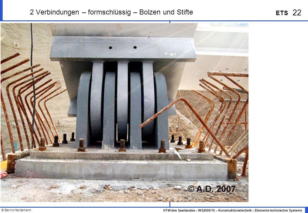 © Bernd Heidemann 22 HTW des Saarlandes – WS2009/10 – Konstruktionstechnik – Elemente technischer Systeme ETS 2 Verbindungen – formschlüssig – Bolzen