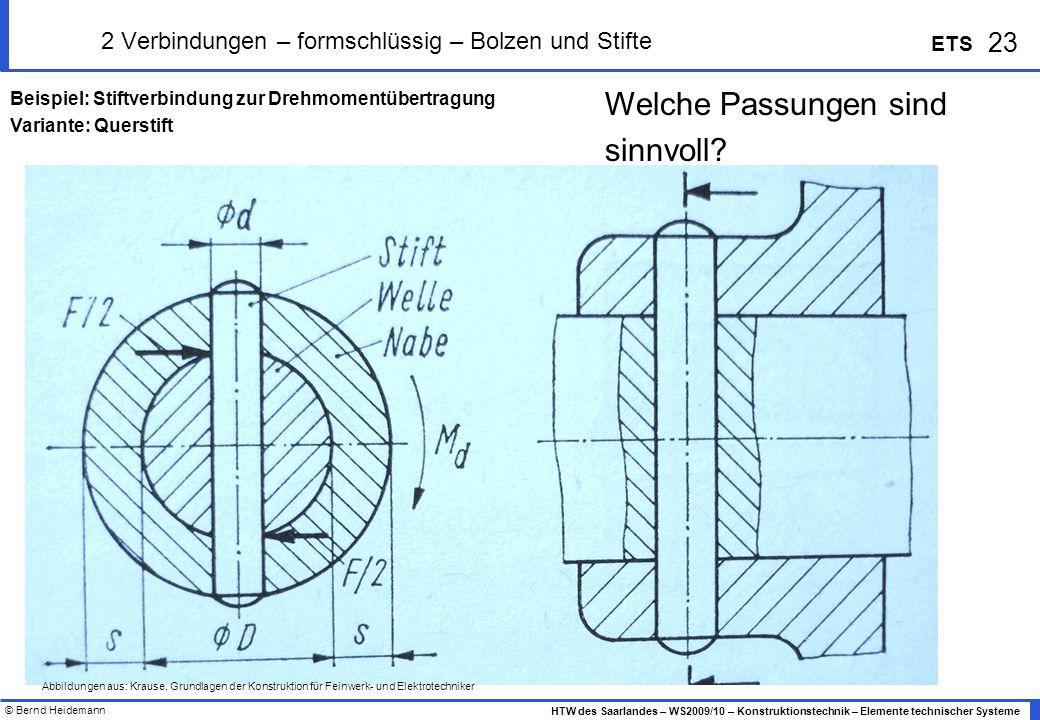 © Bernd Heidemann 23 HTW des Saarlandes – WS2009/10 – Konstruktionstechnik – Elemente technischer Systeme ETS 2 Verbindungen – formschlüssig – Bolzen
