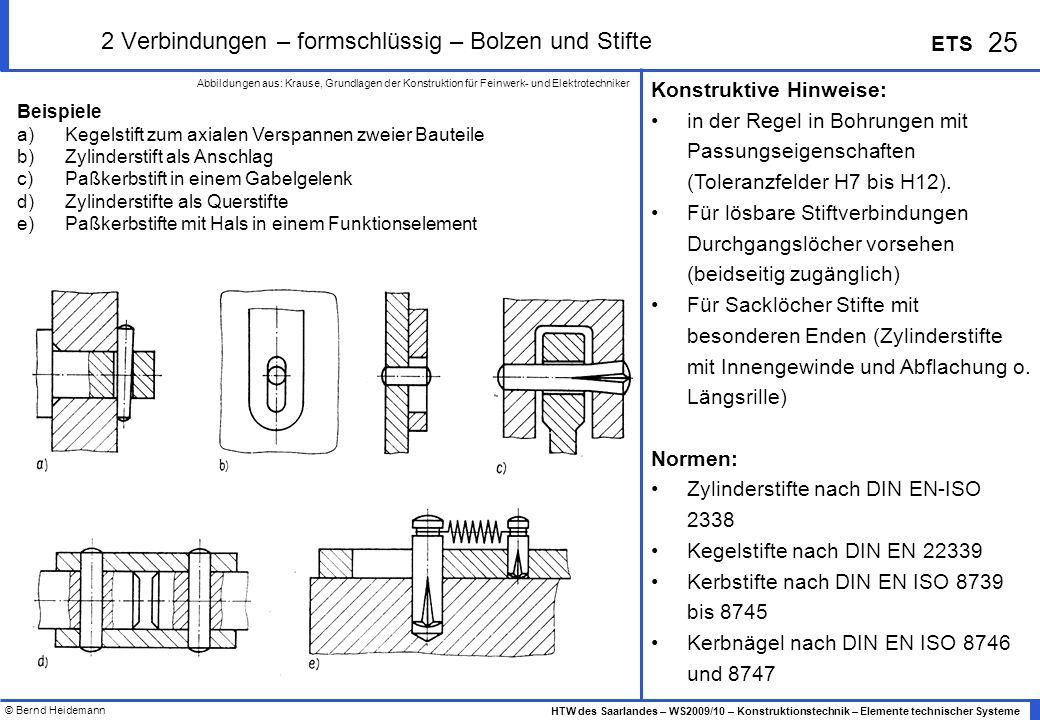 © Bernd Heidemann 25 HTW des Saarlandes – WS2009/10 – Konstruktionstechnik – Elemente technischer Systeme ETS 2 Verbindungen – formschlüssig – Bolzen