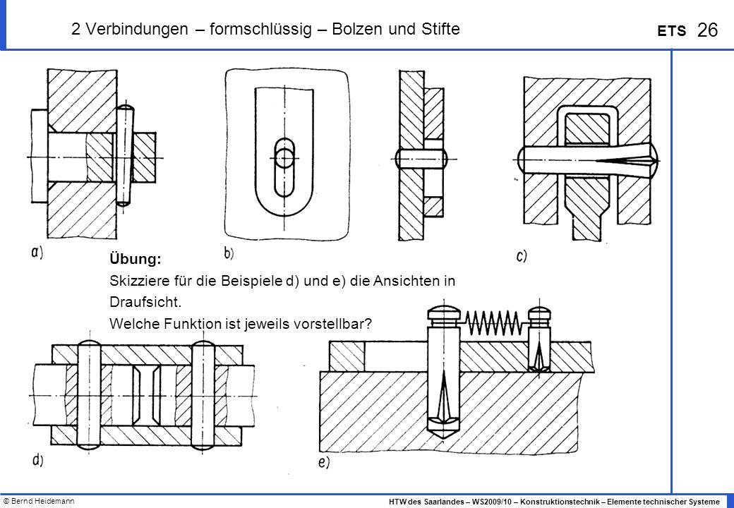 © Bernd Heidemann 26 HTW des Saarlandes – WS2009/10 – Konstruktionstechnik – Elemente technischer Systeme ETS 2 Verbindungen – formschlüssig – Bolzen