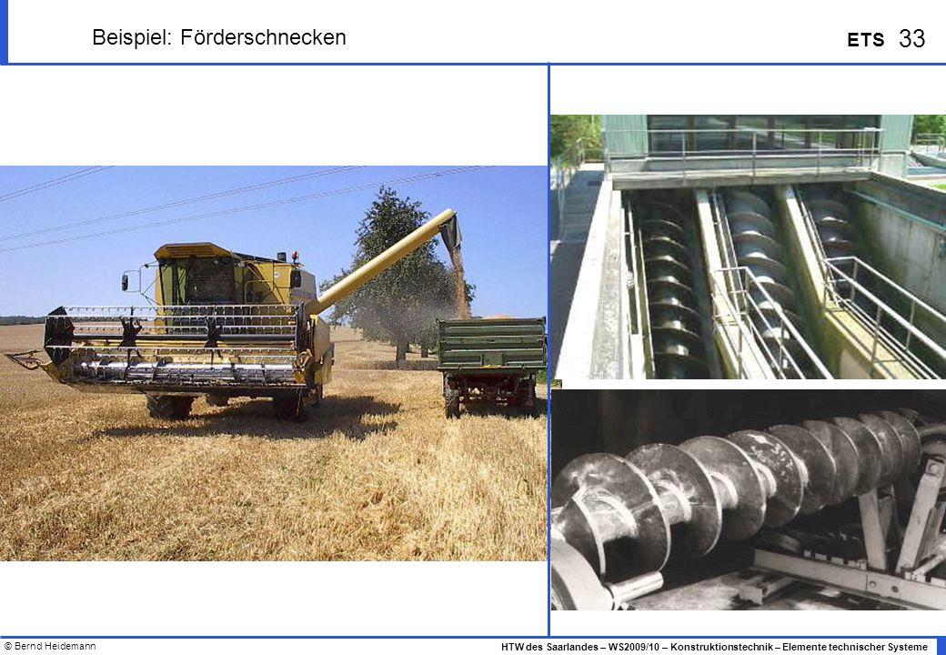 © Bernd Heidemann 33 HTW des Saarlandes – WS2009/10 – Konstruktionstechnik – Elemente technischer Systeme ETS Beispiel: Förderschnecken