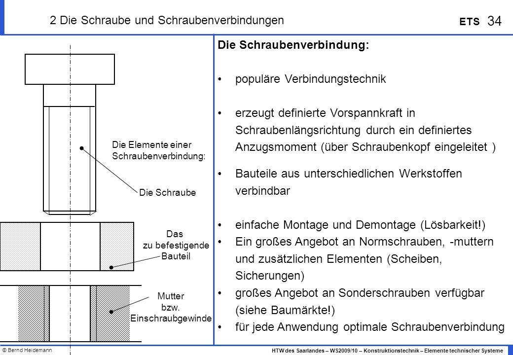© Bernd Heidemann 34 HTW des Saarlandes – WS2009/10 – Konstruktionstechnik – Elemente technischer Systeme ETS 2 Die Schraube und Schraubenverbindungen