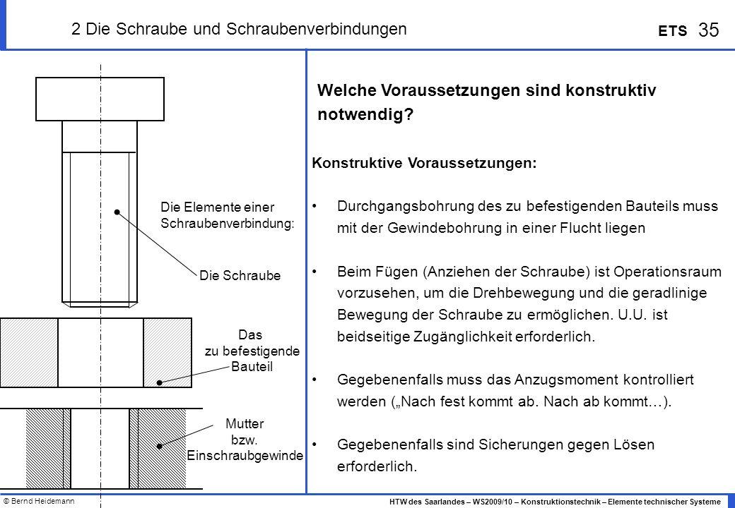 © Bernd Heidemann 35 HTW des Saarlandes – WS2009/10 – Konstruktionstechnik – Elemente technischer Systeme ETS 2 Die Schraube und Schraubenverbindungen