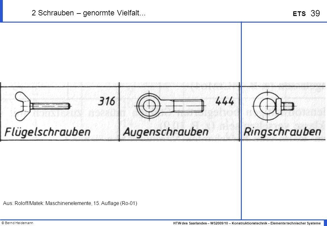 © Bernd Heidemann 39 HTW des Saarlandes – WS2009/10 – Konstruktionstechnik – Elemente technischer Systeme ETS 2 Schrauben – genormte Vielfalt... Aus: