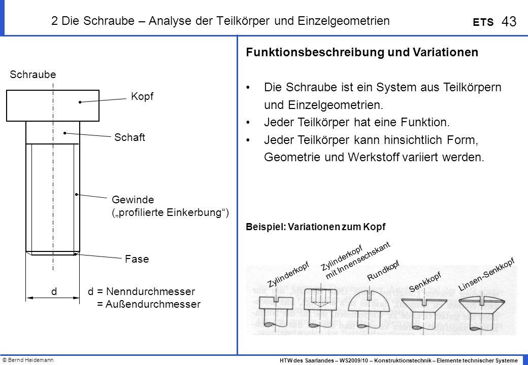 © Bernd Heidemann 43 HTW des Saarlandes – WS2009/10 – Konstruktionstechnik – Elemente technischer Systeme ETS 2 Die Schraube – Analyse der Teilkörper