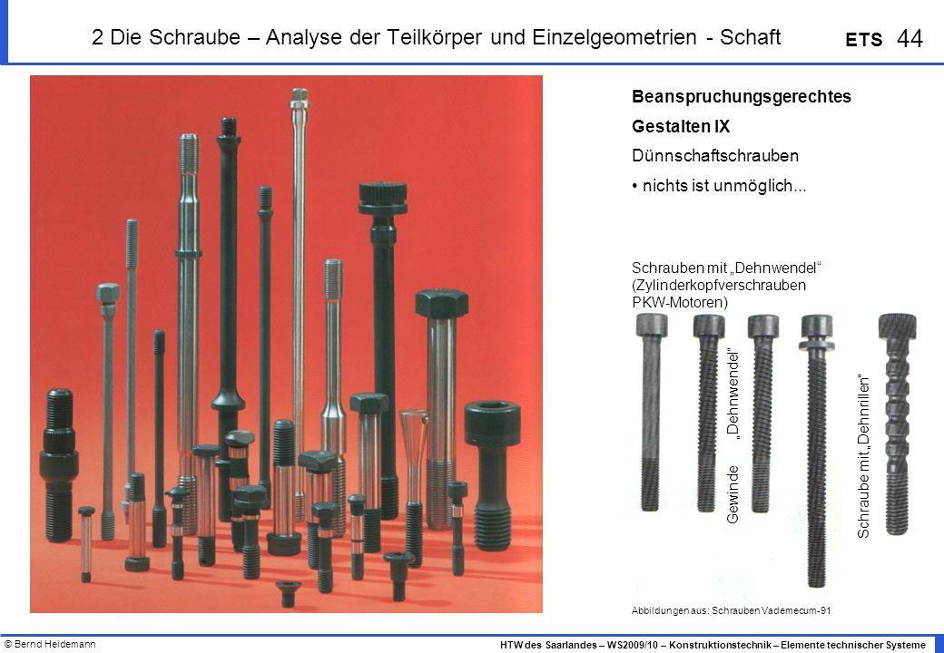 © Bernd Heidemann 44 HTW des Saarlandes – WS2009/10 – Konstruktionstechnik – Elemente technischer Systeme ETS Beanspruchungsgerechtes Gestalten IX Dün