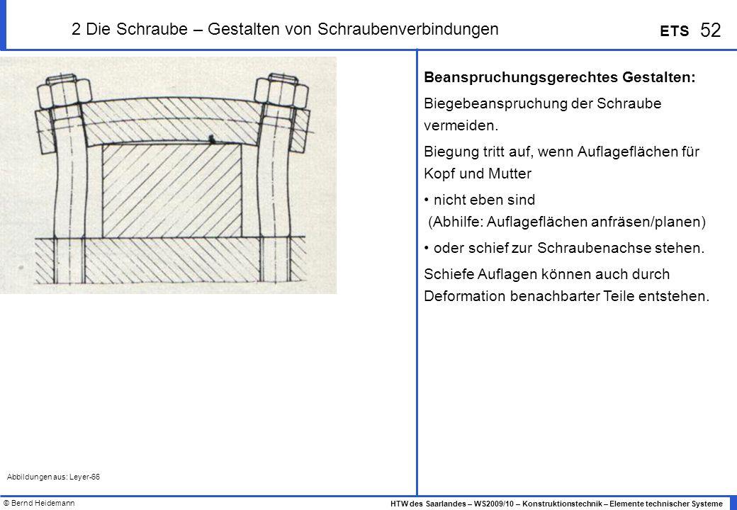 © Bernd Heidemann 52 HTW des Saarlandes – WS2009/10 – Konstruktionstechnik – Elemente technischer Systeme ETS 2 Die Schraube – Gestalten von Schrauben