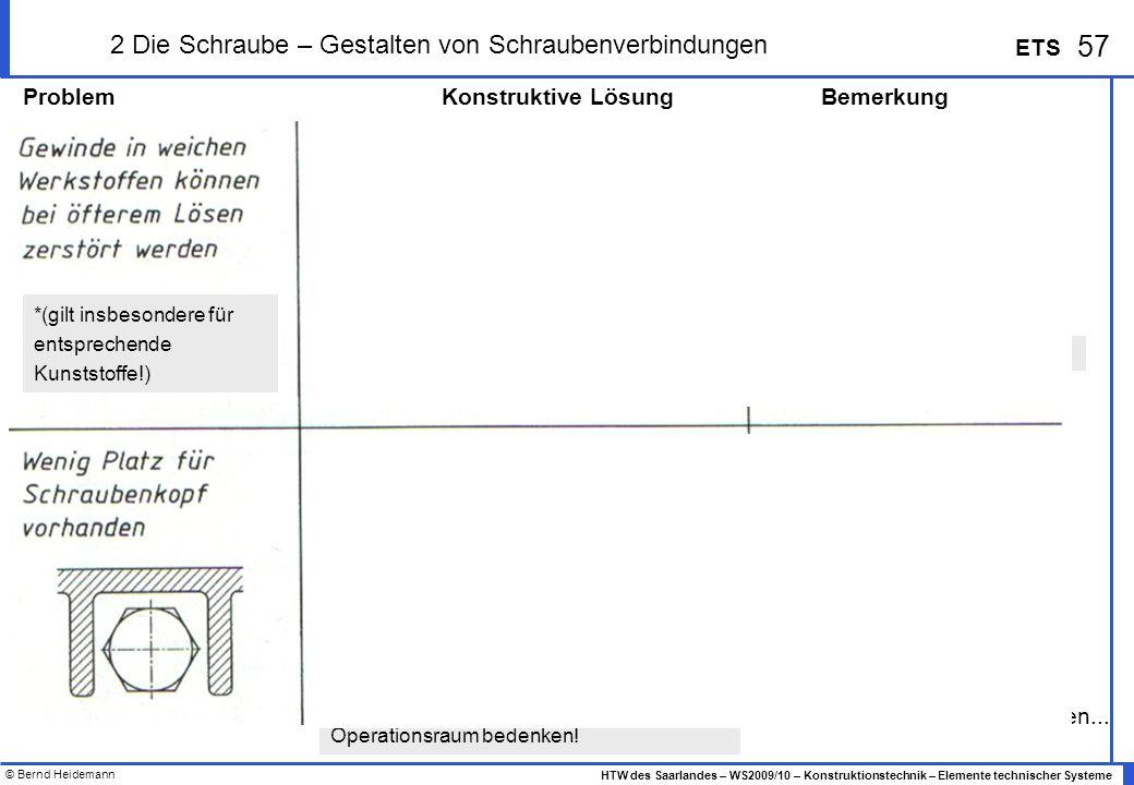 © Bernd Heidemann 57 HTW des Saarlandes – WS2009/10 – Konstruktionstechnik – Elemente technischer Systeme ETS 2 Die Schraube – Gestalten von Schrauben