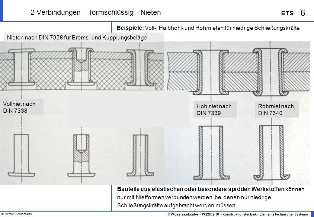 © Bernd Heidemann 6 HTW des Saarlandes – WS2009/10 – Konstruktionstechnik – Elemente technischer Systeme ETS 2 Verbindungen – formschlüssig - Nieten B