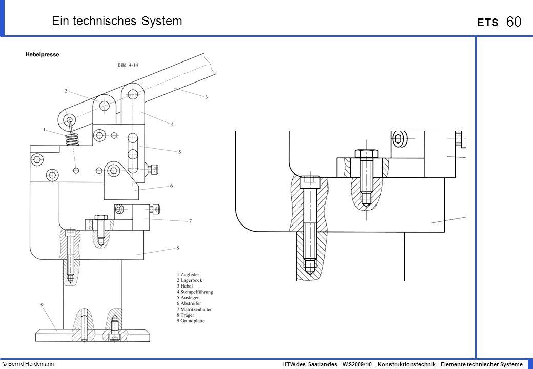 © Bernd Heidemann 60 HTW des Saarlandes – WS2009/10 – Konstruktionstechnik – Elemente technischer Systeme ETS Ein technisches System