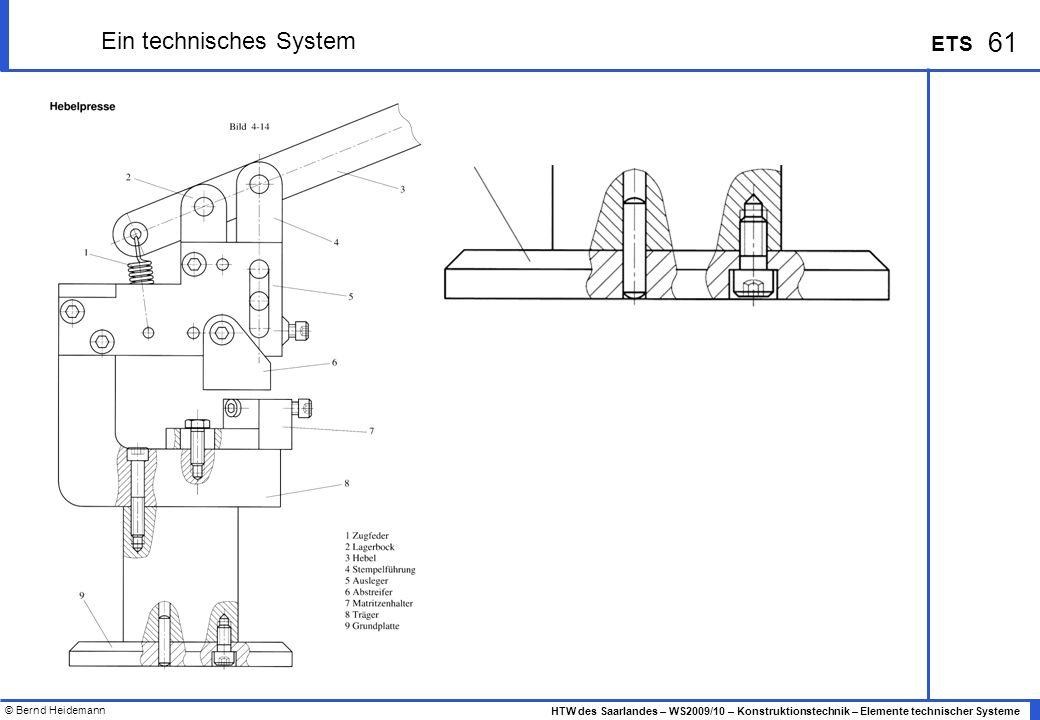 © Bernd Heidemann 61 HTW des Saarlandes – WS2009/10 – Konstruktionstechnik – Elemente technischer Systeme ETS Ein technisches System