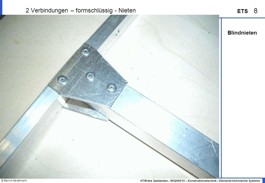 © Bernd Heidemann 39 HTW des Saarlandes – WS2009/10 – Konstruktionstechnik – Elemente technischer Systeme ETS 2 Schrauben – genormte Vielfalt...